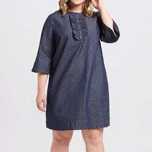 Draper James Chambray Ruffle Shirt Dress Size 20X